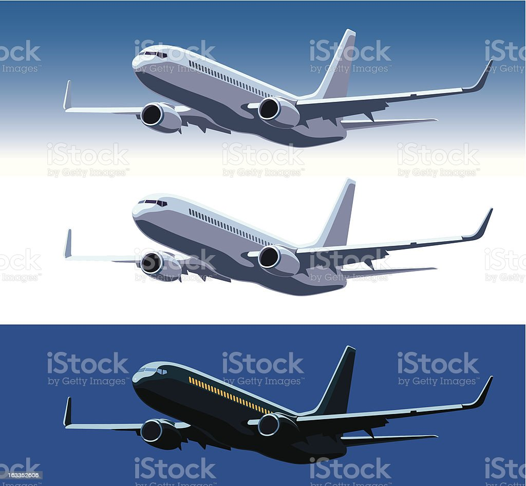 Commercial airplane royalty-free stock vector art