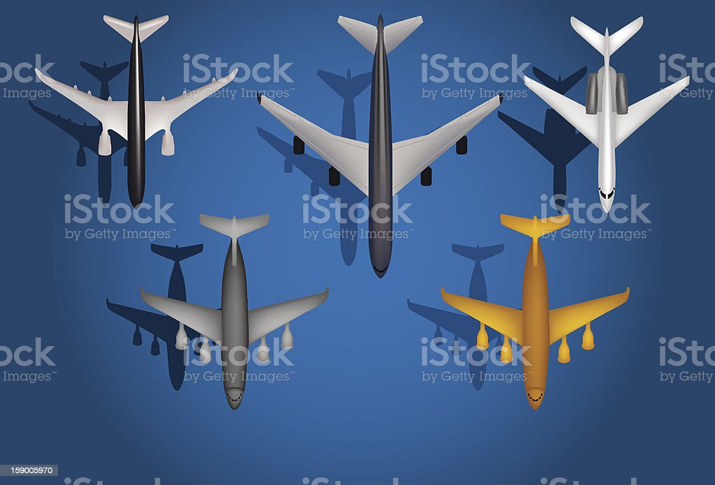 Commercial Airplanes royalty-free stock vector art