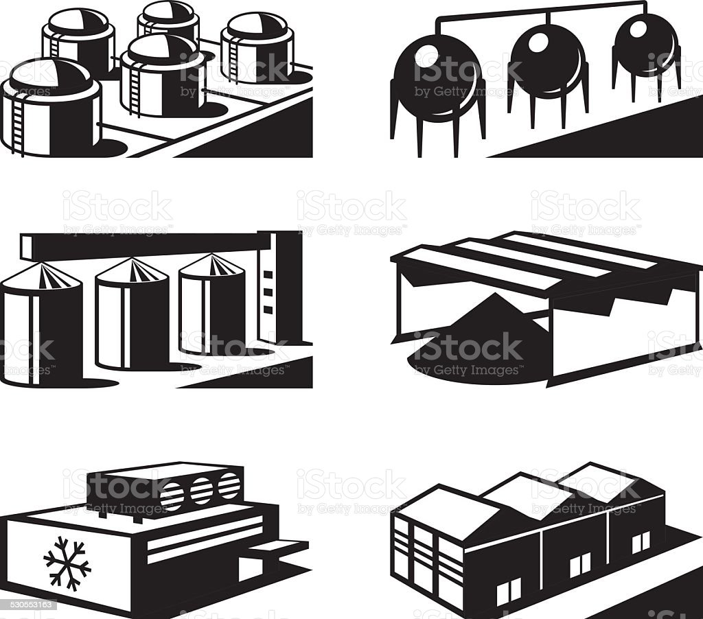 Commercial and industrial warehouses vector art illustration