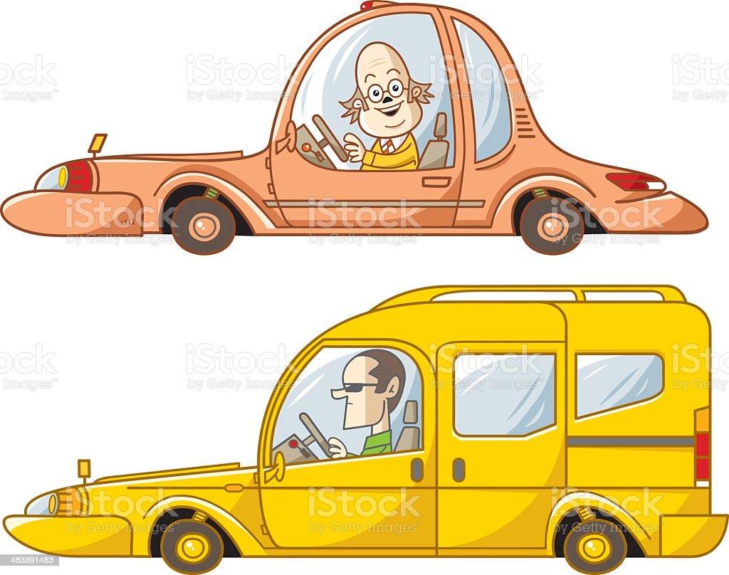 commercial and sedan vector art illustration