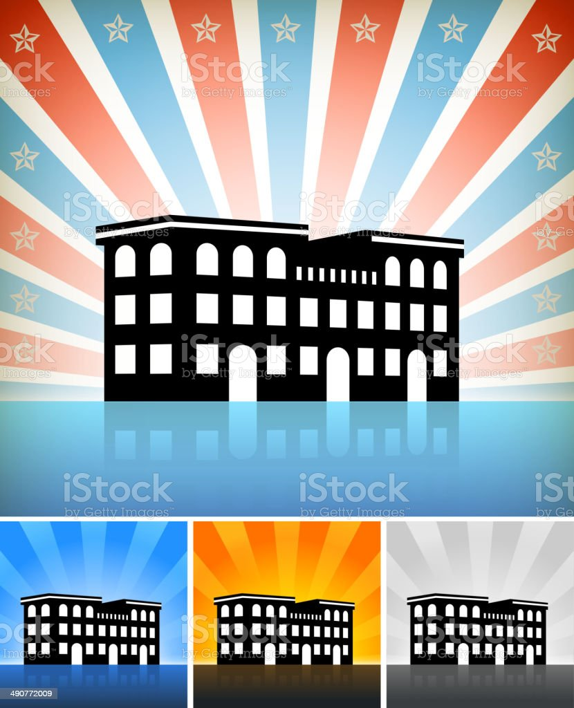 Commercial Building Set with Stars royalty-free stock vector art