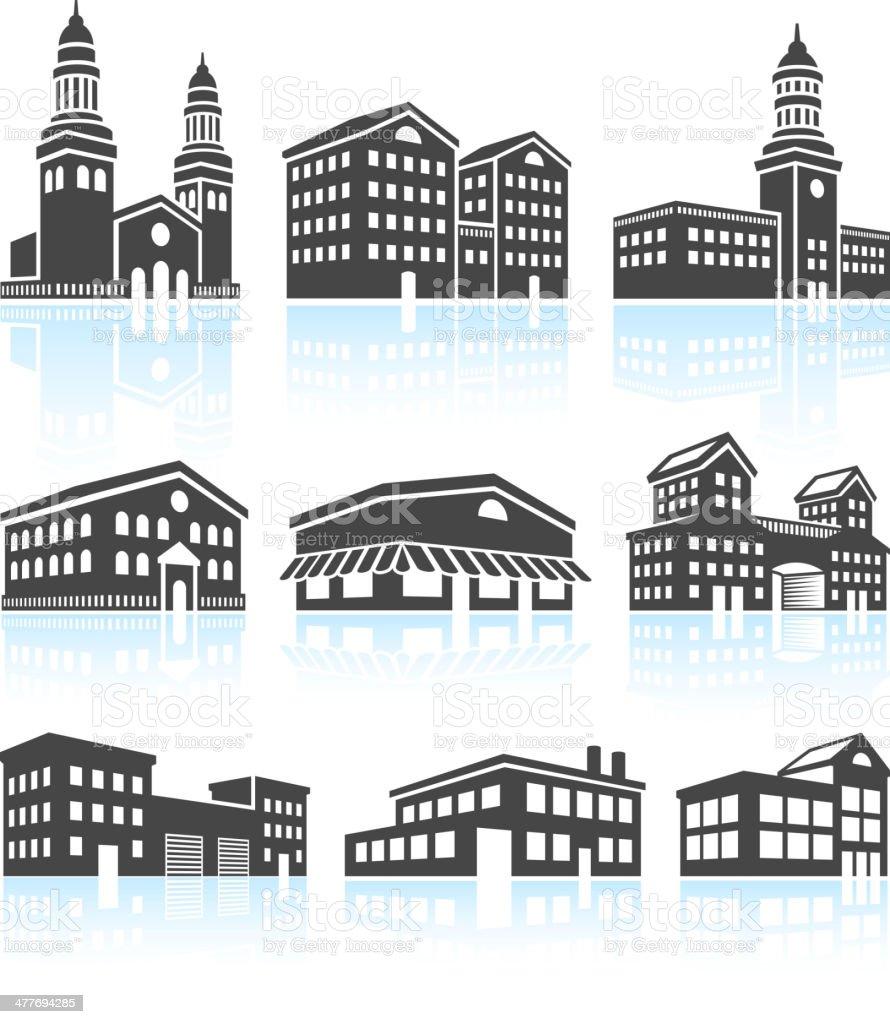 Commercial Buildings Black & White Set vector art illustration
