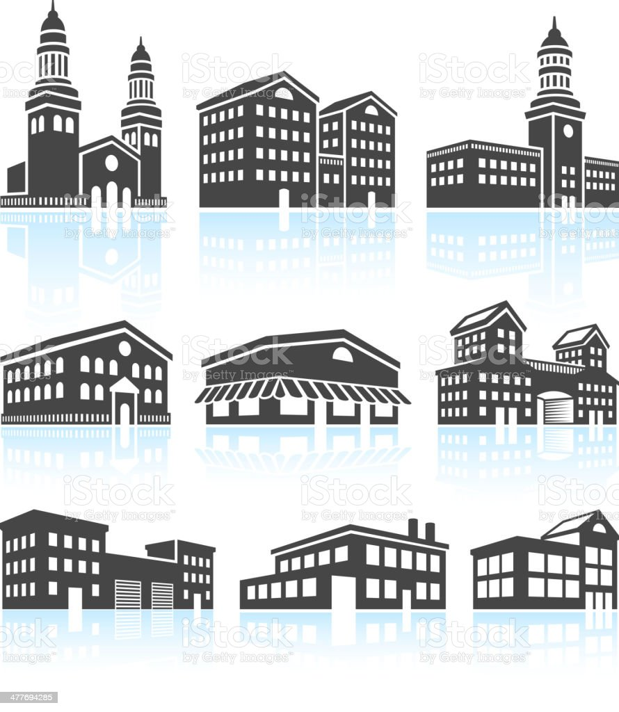 Commercial Buildings Black & White Set vector art illustration