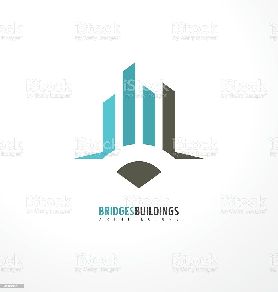 Commercial buildings construction symbol vector art illustration