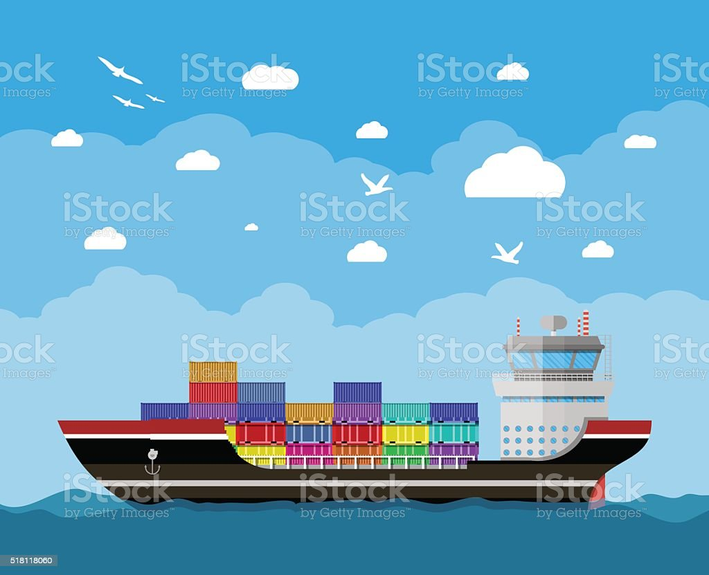 Commercial container ship vector art illustration