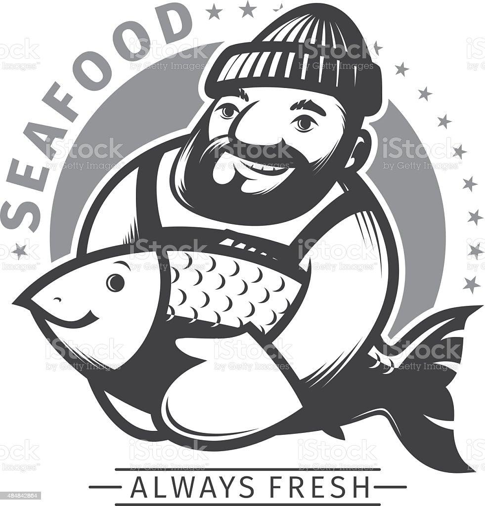 Commercial Fishing emblem vector art illustration