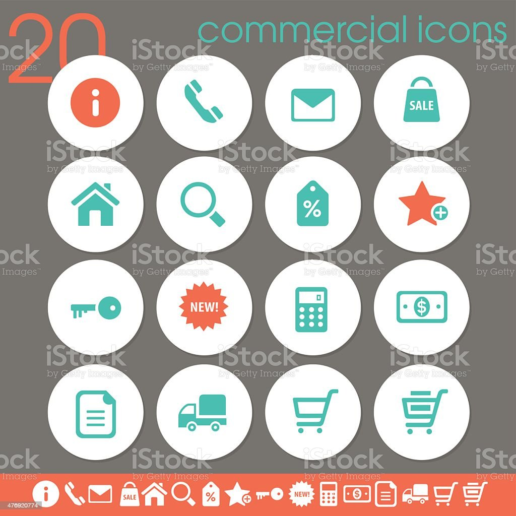 Commercial icons | white circles collection vector art illustration