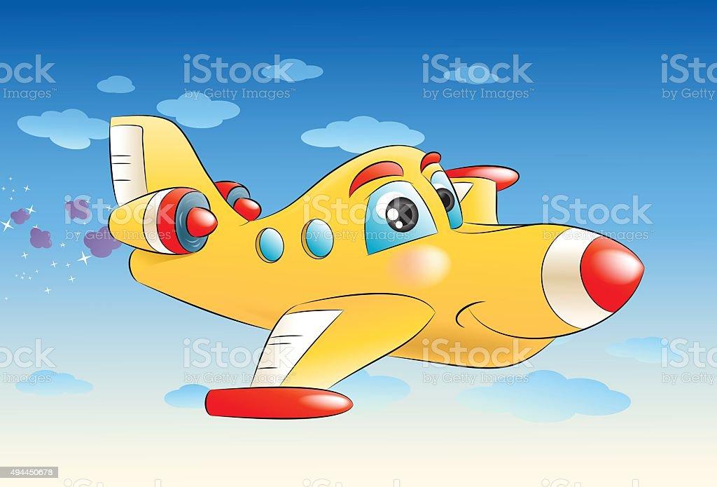 commercial plane flying away vector art illustration