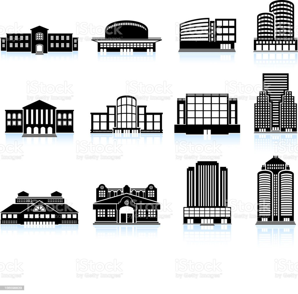 Commercial real estate: Buildings and Skyscrapers vector icon set vector art illustration