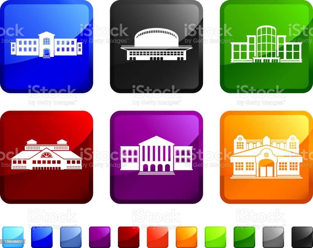Commercial Real Estate Buildings royalty free vector icon set stickers vector art illustration