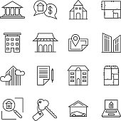 Commercial real estate linear icons. Property for sale line signs