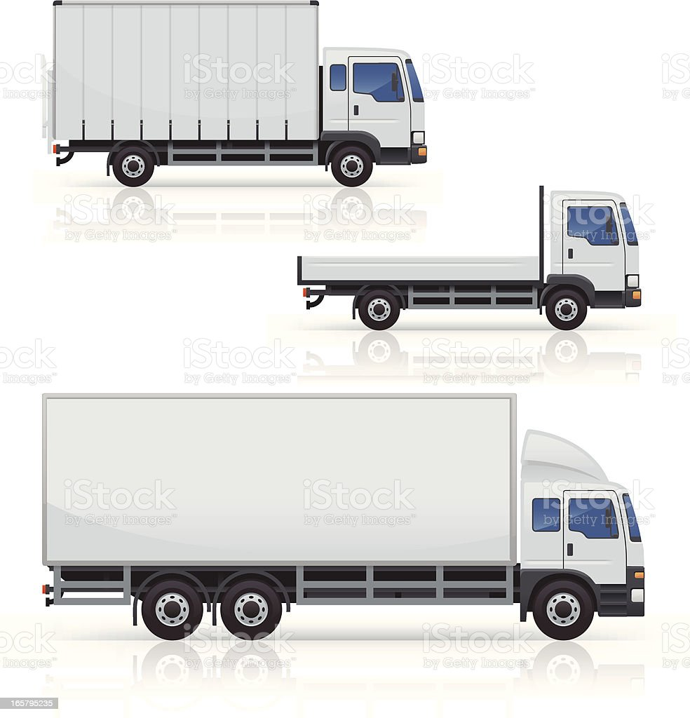 Commercial Truck Icons vector art illustration