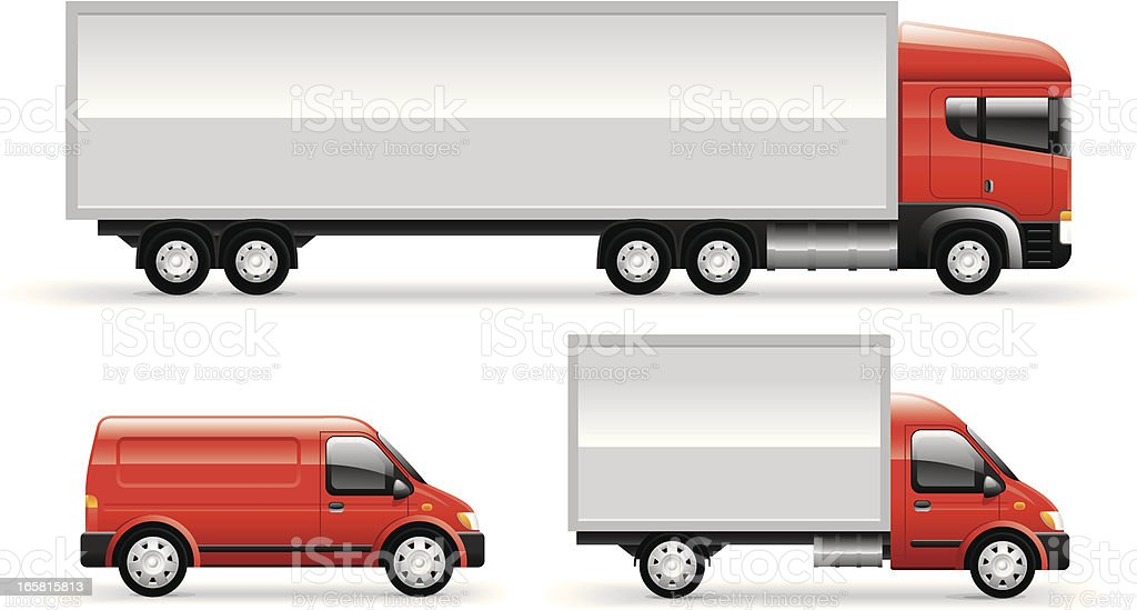 Commercial Trucks Set vector art illustration