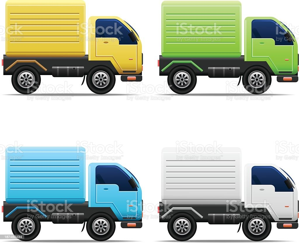 Commercial Van Icons vector art illustration