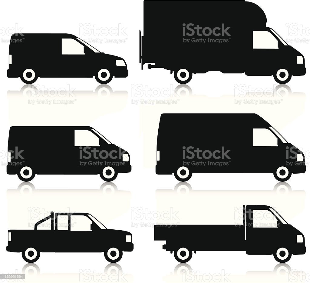 Commercial Van Silhouettes vector art illustration