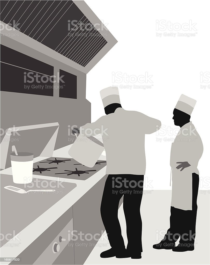 Commerical Cook Vector Silhouette royalty-free stock vector art