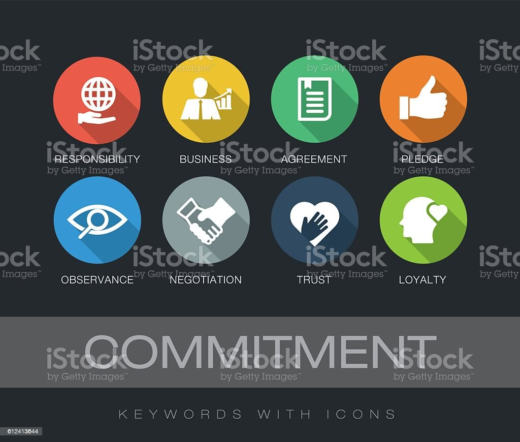 Commitment keywords with icons vector art illustration