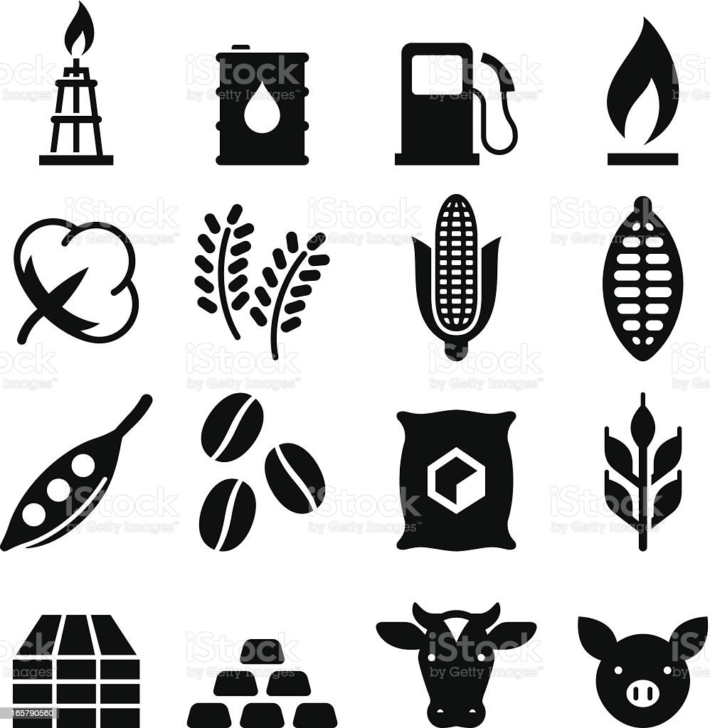 Commodities Icons - Black Series vector art illustration