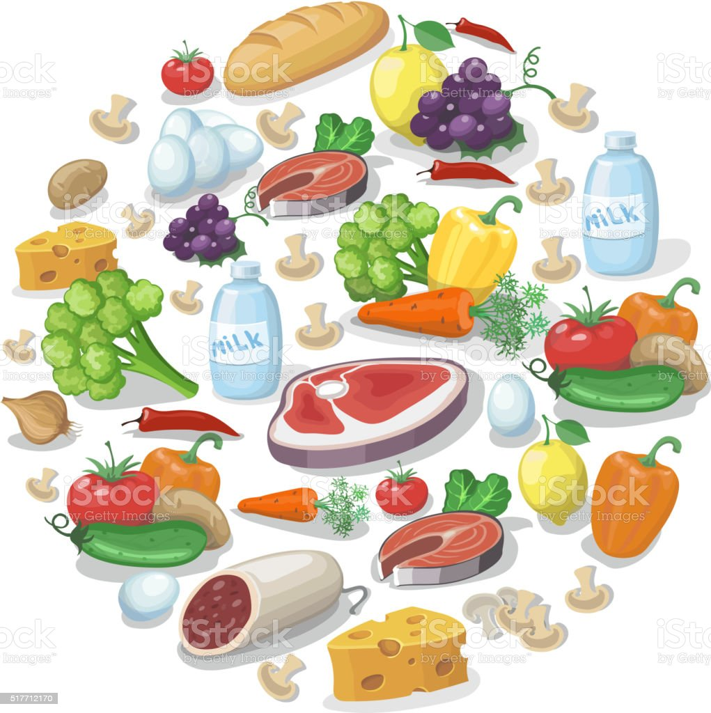 Common everyday food products background. Cheese and fish, vector illustration vector art illustration