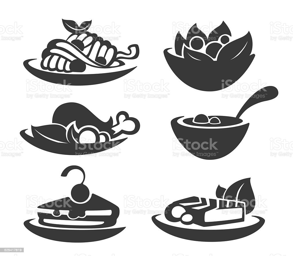 common food and everyday meal vector art illustration