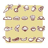 common food and everyday meal, vector object collection