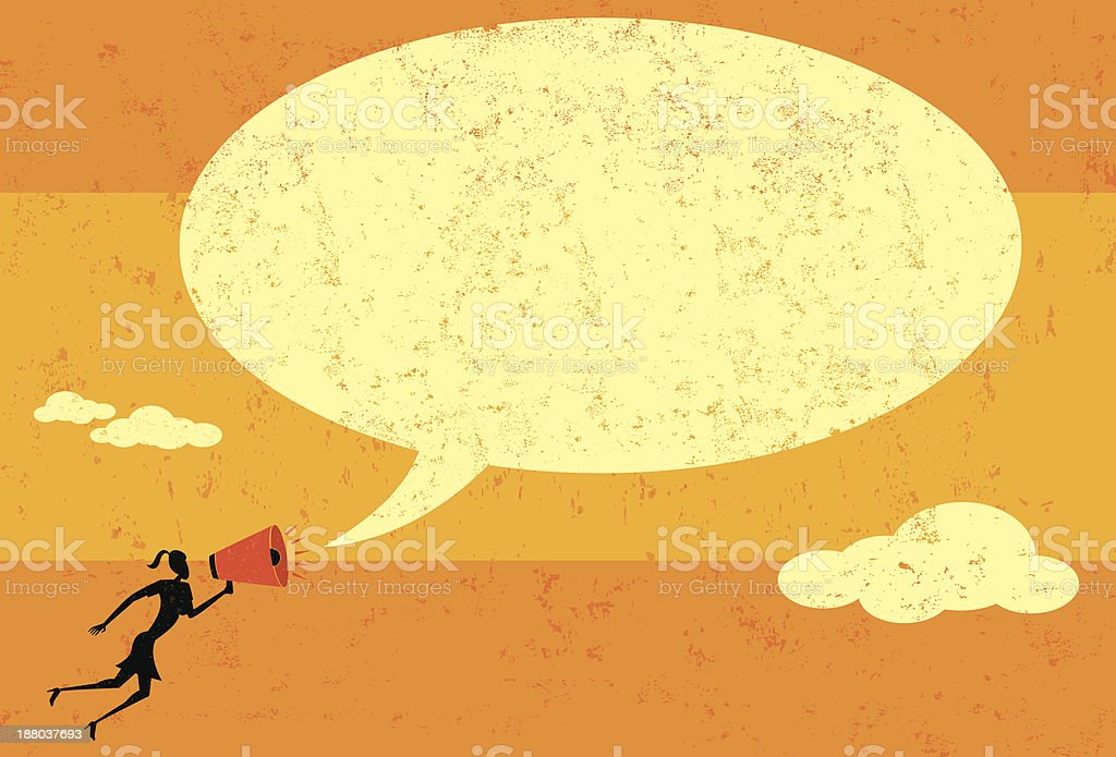 Communicating with a megaphone vector art illustration