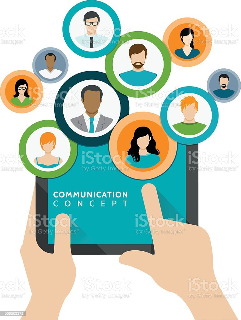 Communication and Business Concept vector art illustration