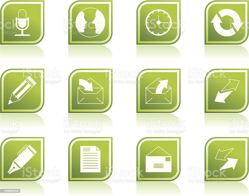 Communication and Business Icon Symbols in Modern Green Leaf Shape royalty-free stock vector art