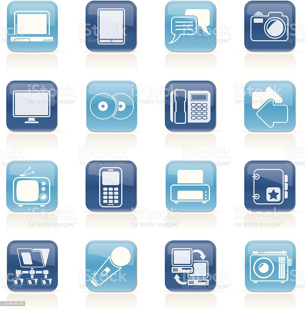 Communication and connection technology icons royalty-free stock vector art