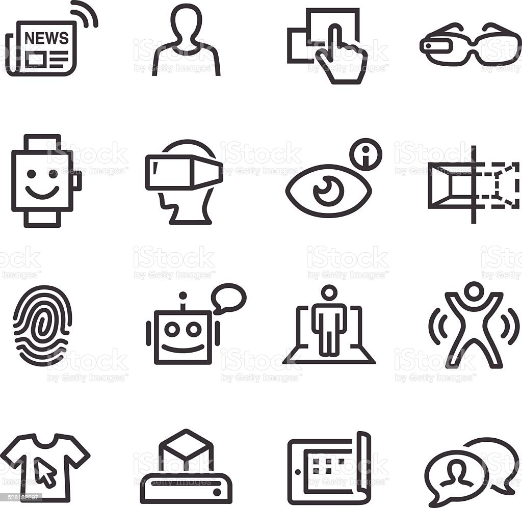 Communication and Digital Technology Icons - Line Series vector art illustration