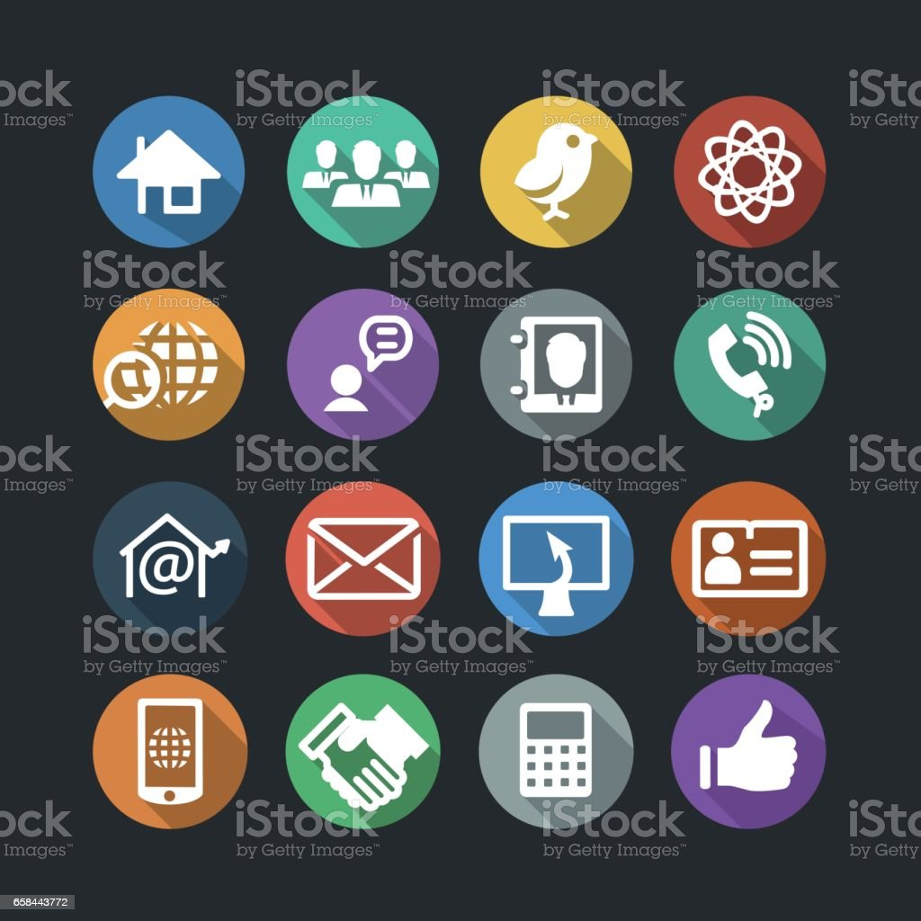 Communication and Media Icons vector art illustration