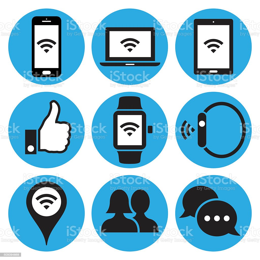 Communication and media icons. Vector stock photo