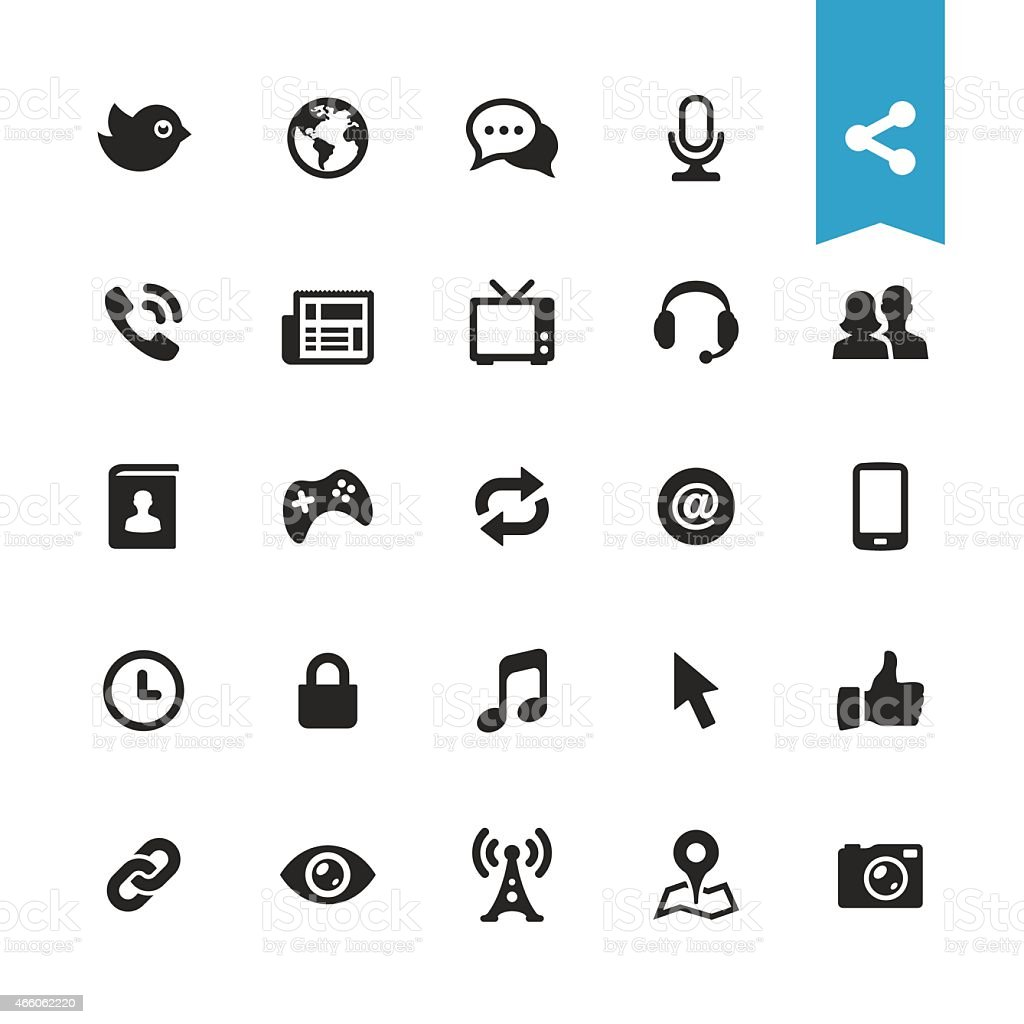 Communication and media vector icons vector art illustration