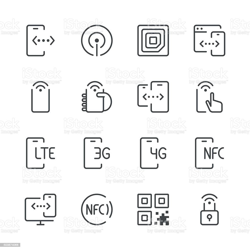 Communication and Mobile Data Icons 1 | Black Line series vector art illustration