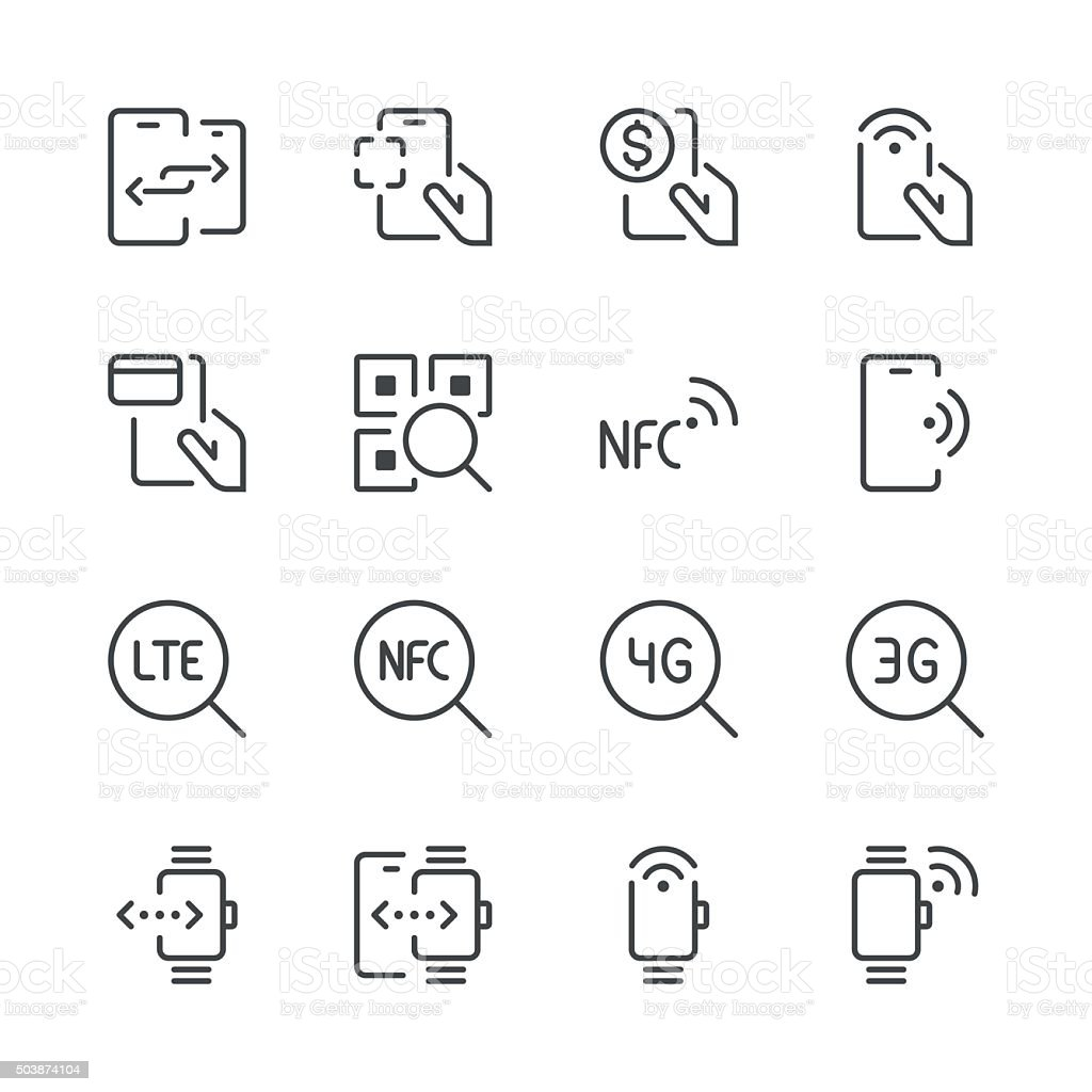Communication and Mobile Data Icons 2 | Black Line series vector art illustration