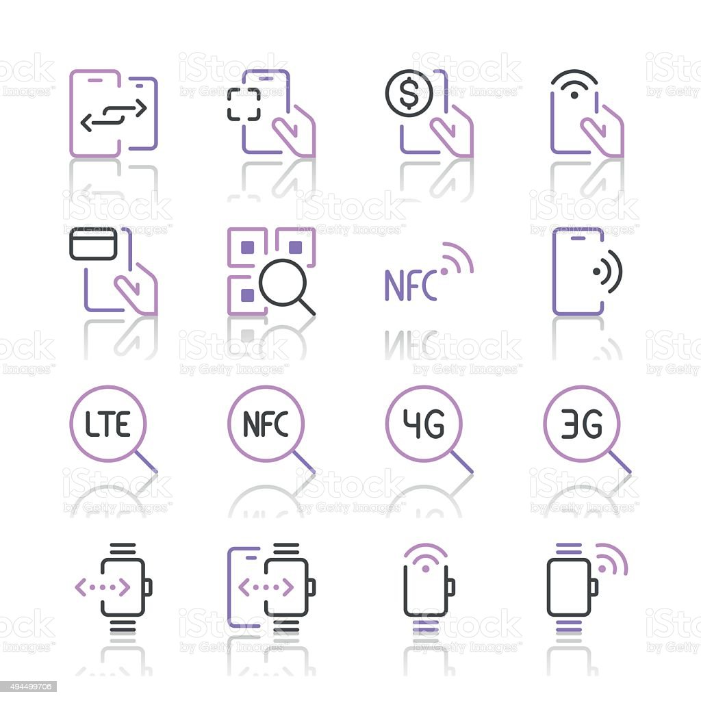 Communication and Mobile Data Icons 2 | Purple Line series vector art illustration