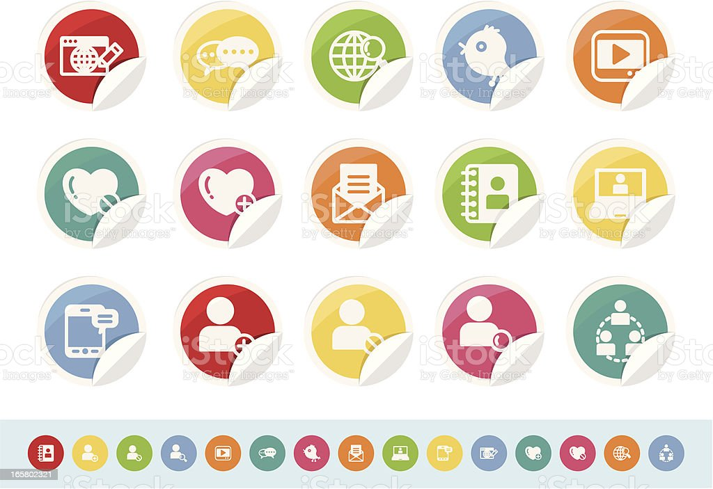 communication and social media icon set royalty-free stock vector art