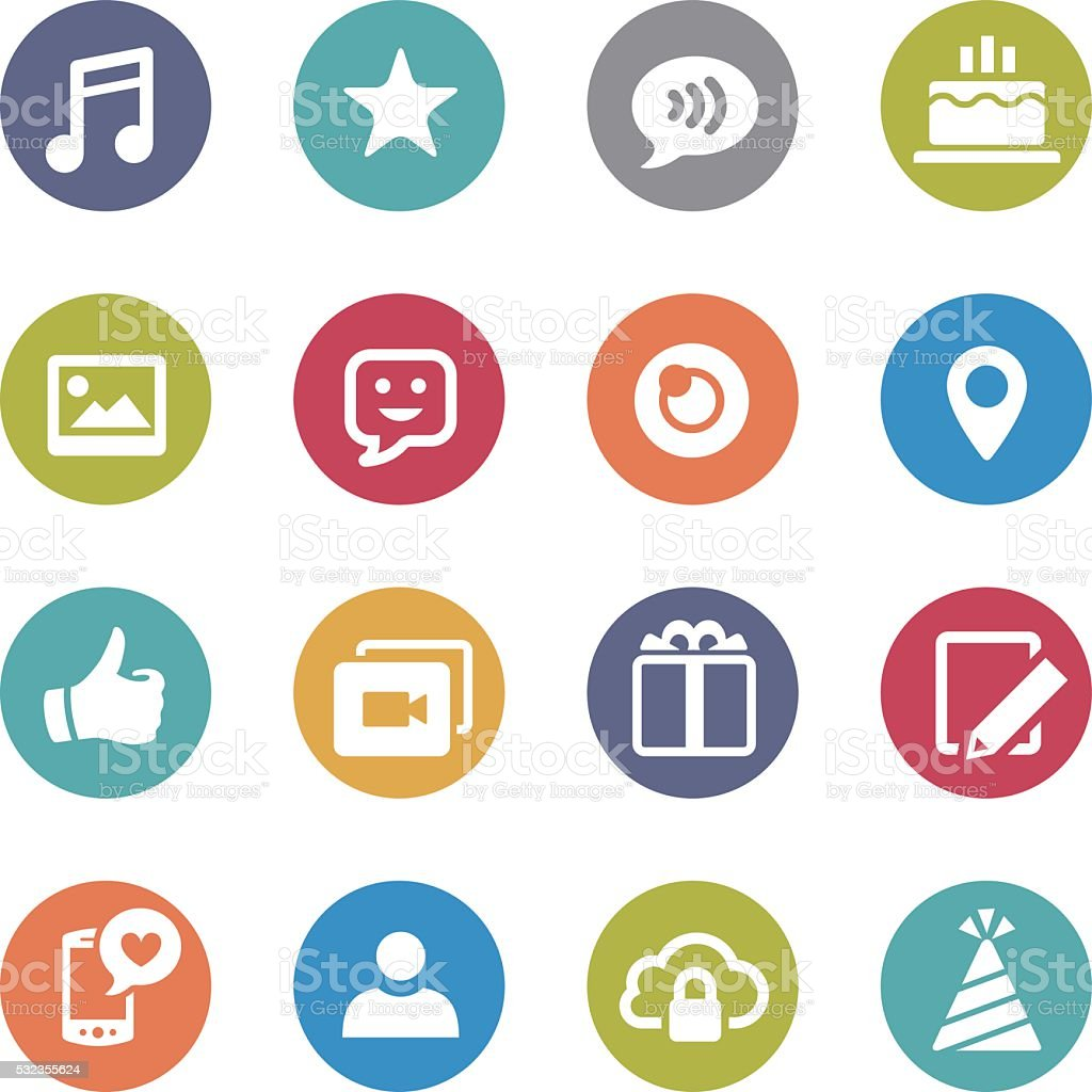 Communication and Social Media Icons - Circle Series vector art illustration