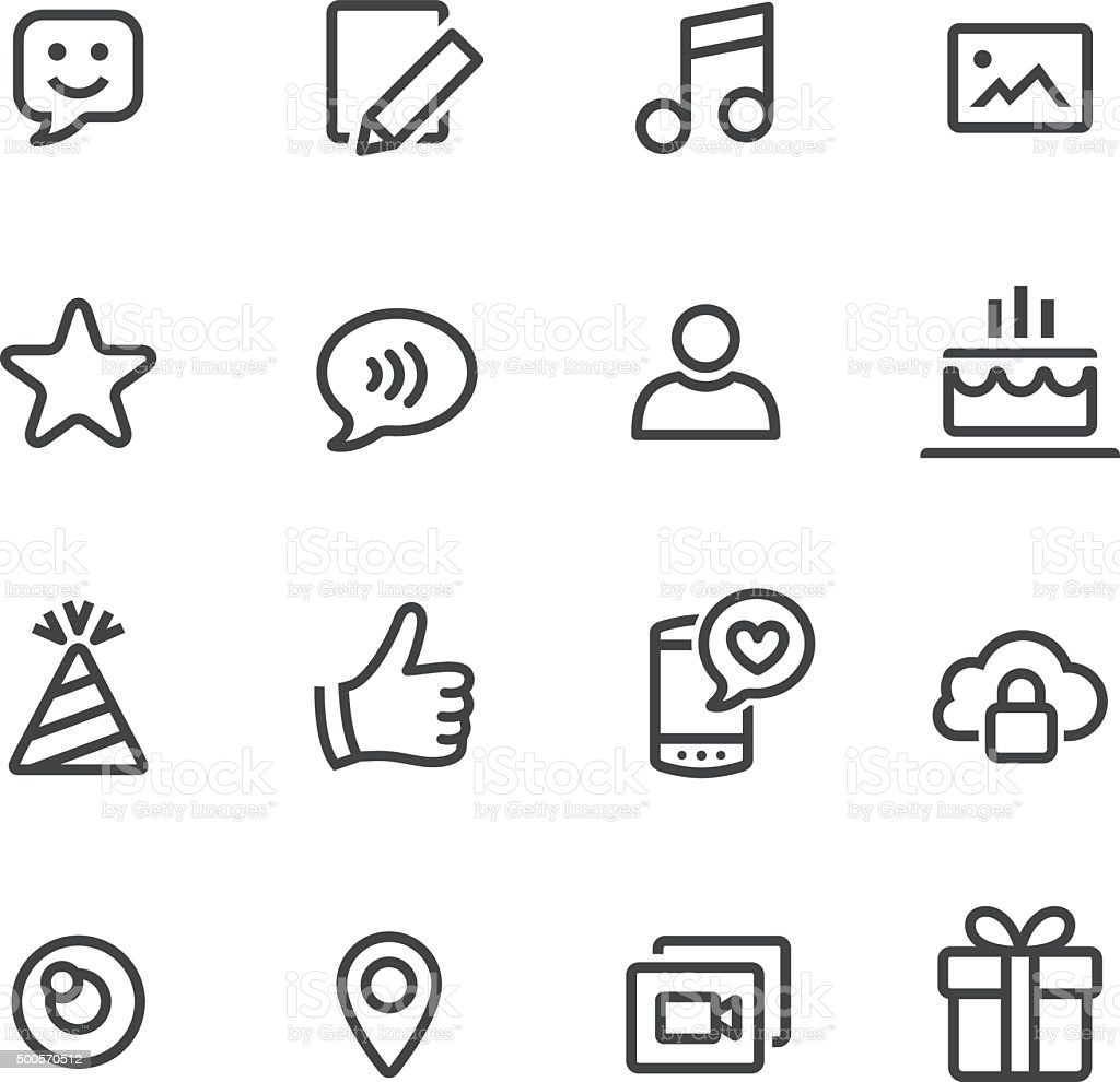 Communication and Social Media Icons - Line Series vector art illustration