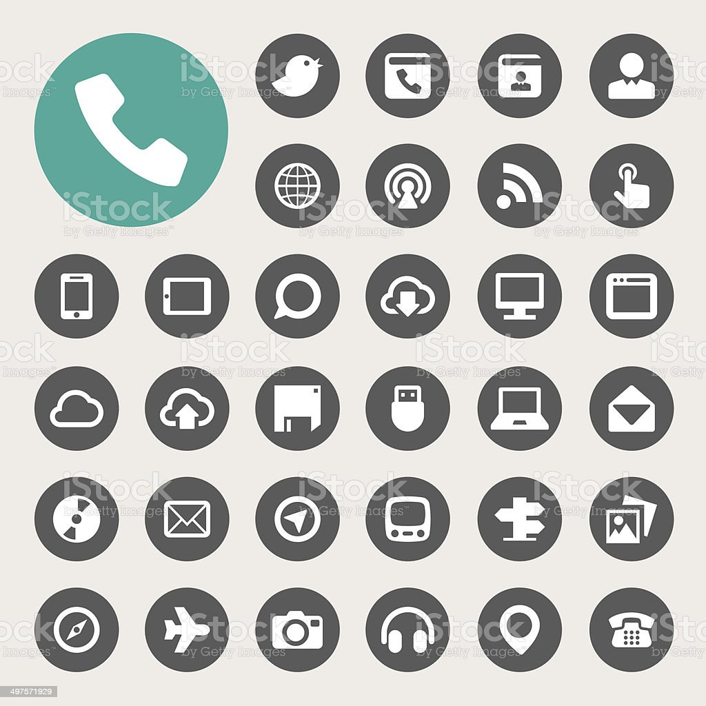 Communication and transportaion icon set vector art illustration