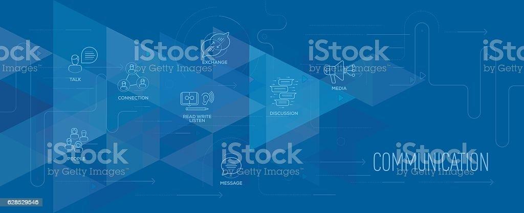 Communication banner and icon set vector art illustration