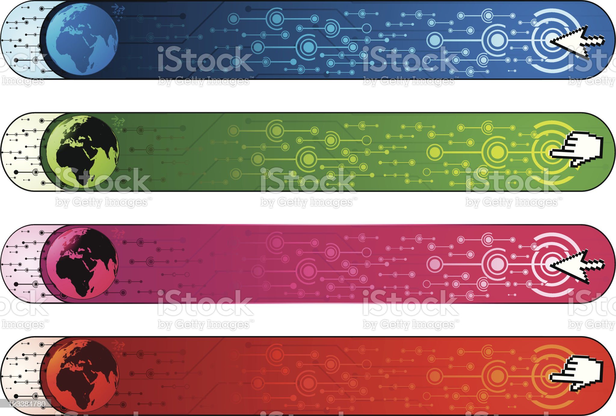Communication banners with earth royalty-free stock vector art