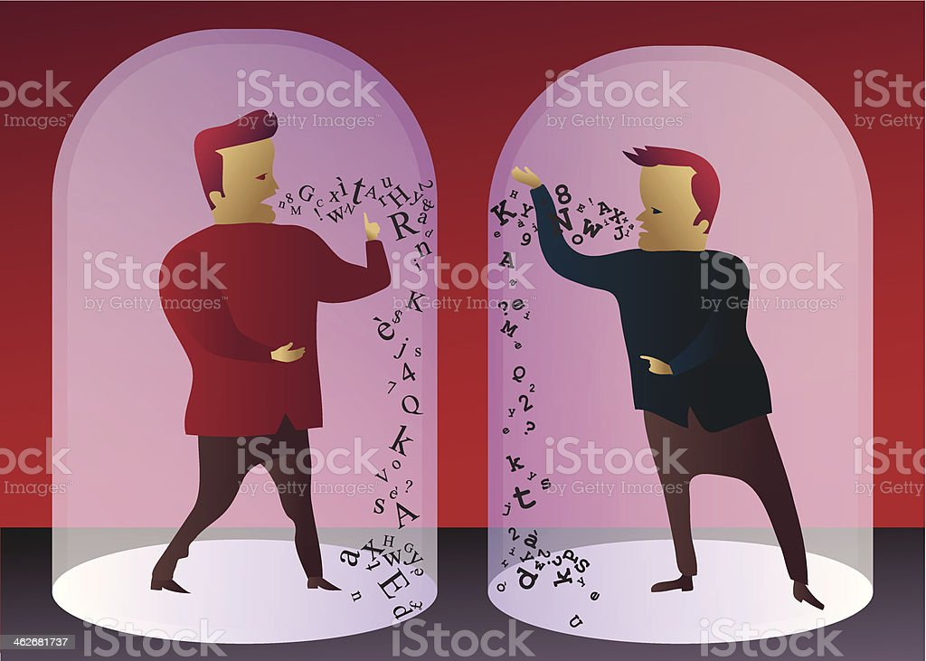 Communication breakdown: two men unable to understand each other vector art illustration