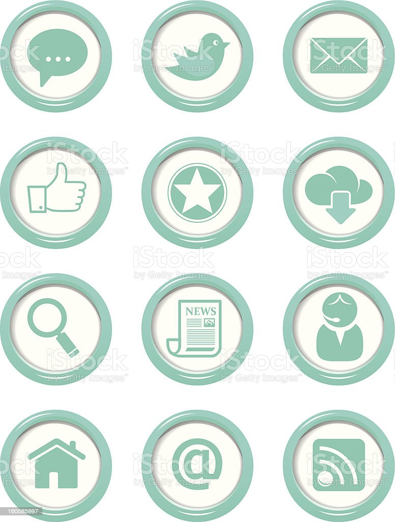Communication buttons blue set royalty-free stock vector art