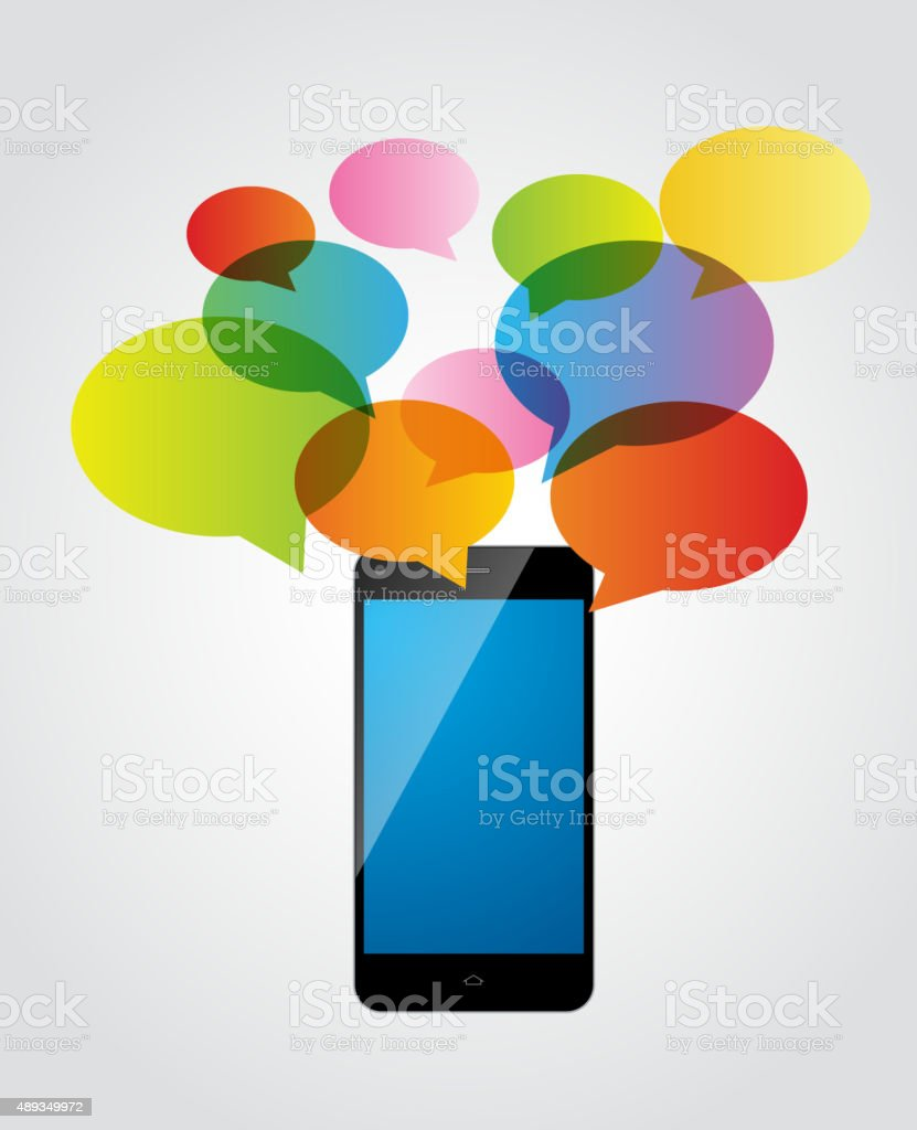 Communication by mobile phone vector art illustration