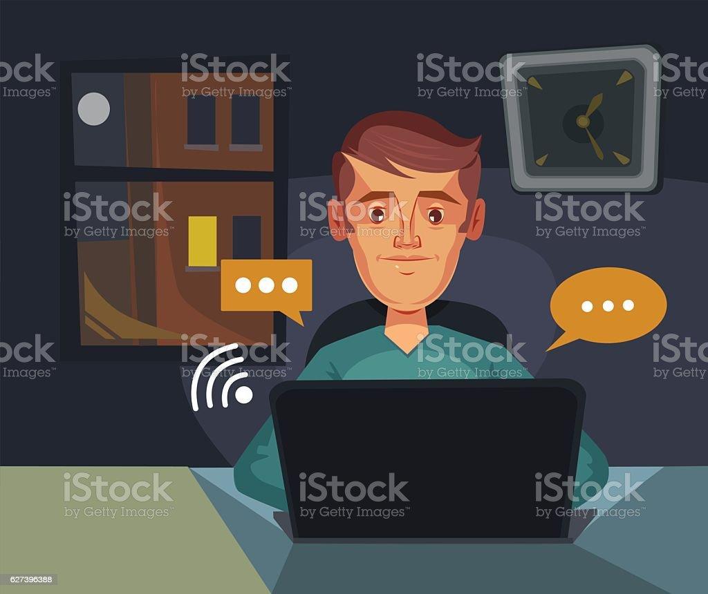 Communication chat. Man character send massages. Vector flat cartoon illustration vector art illustration