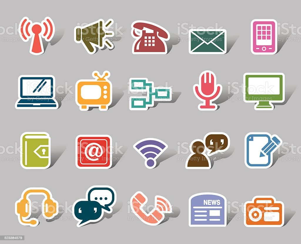 Communication Color Icon Label vector art illustration