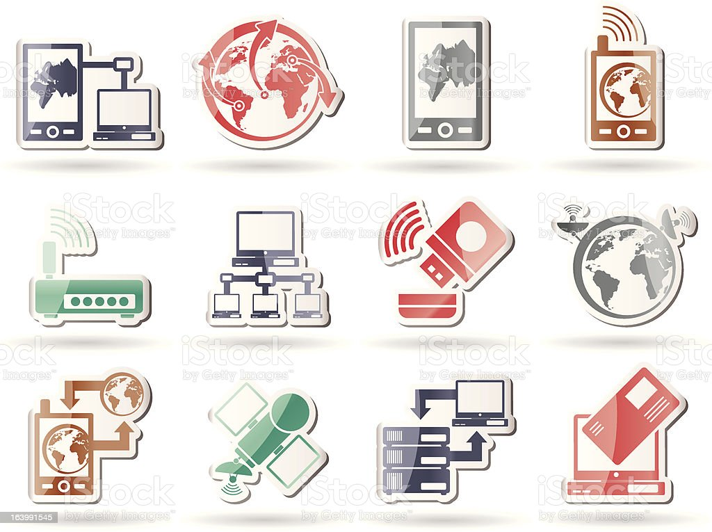 communication, computer and mobile phone icons royalty-free stock vector art