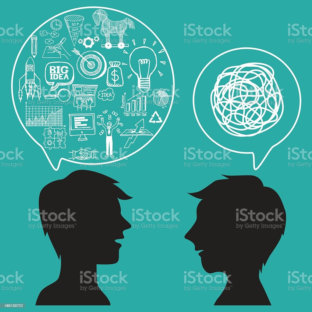 Communication concept with business doodles in speech bubble. vector art illustration