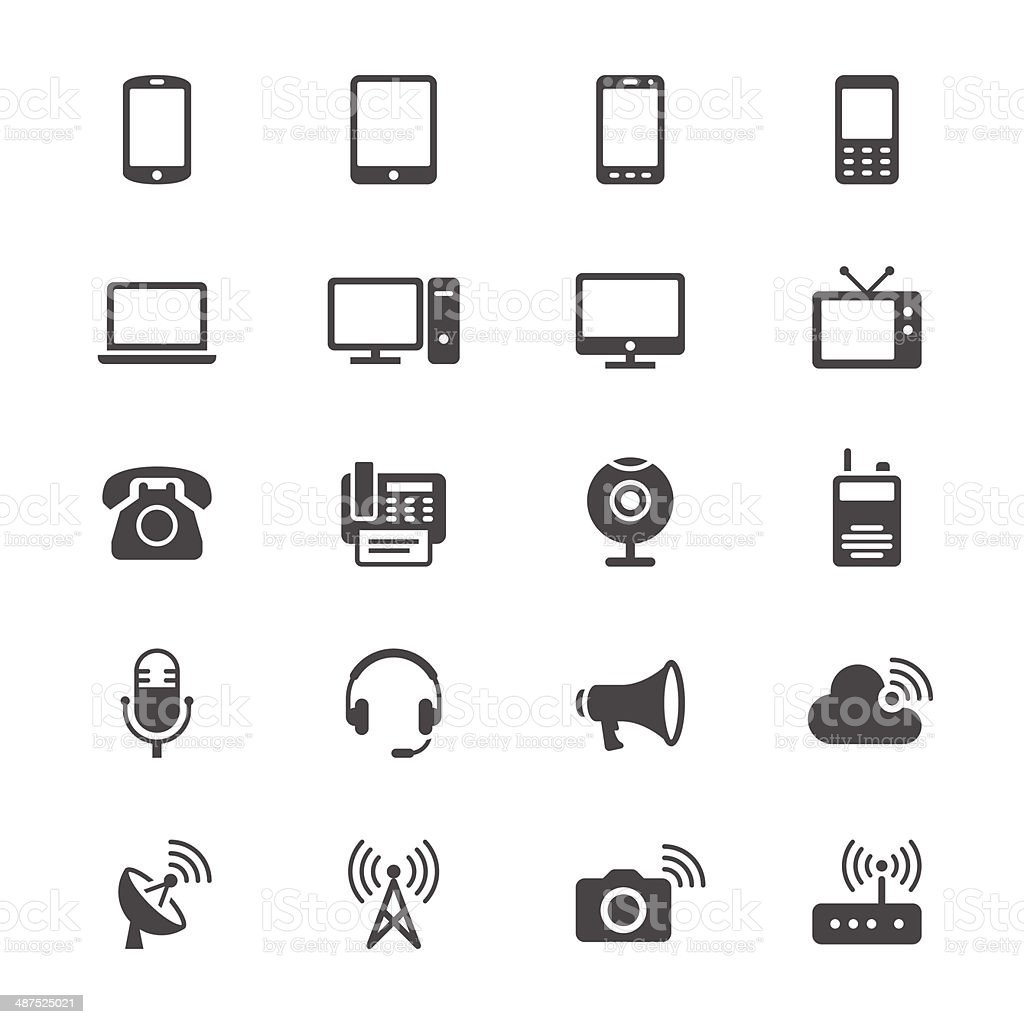 Communication device flat icons vector art illustration
